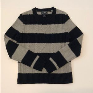 Navy and gray stripped crew neck sweater